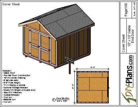 10×10 Gable Shed Plan