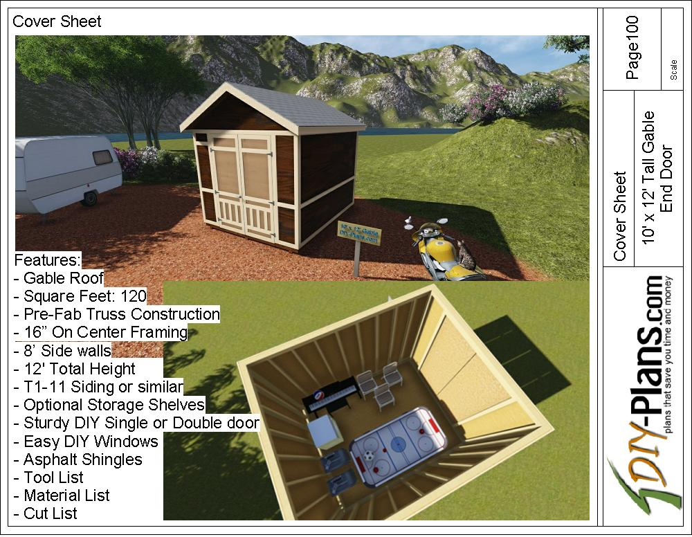 10×12 Tall Gable Shed Plan