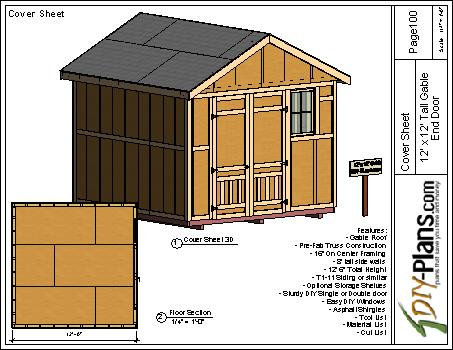 12×12 Tall Gable Storage Shed Plan