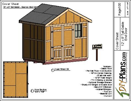 12x8 tall gable storage shed plan for Gable storage shed plans