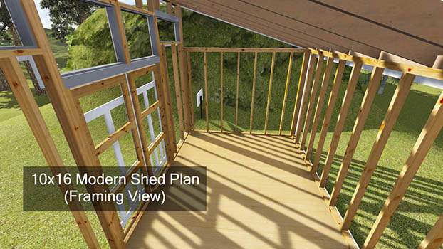 10x16 Modern Shed Plan