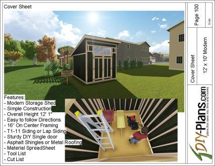 12x10 Modern Shed Plan
