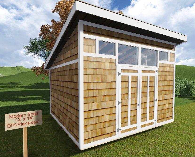 12x14 modern shed plan for Contemporary shed plans