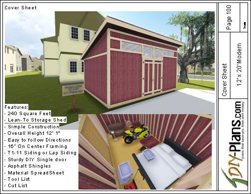 12x20 Modern Storage Shed Plan