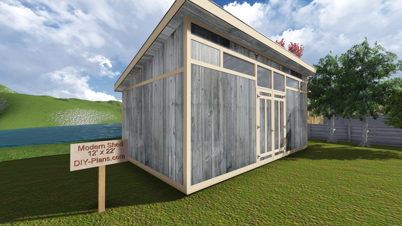 12x22 modern shed plan for Modern shed