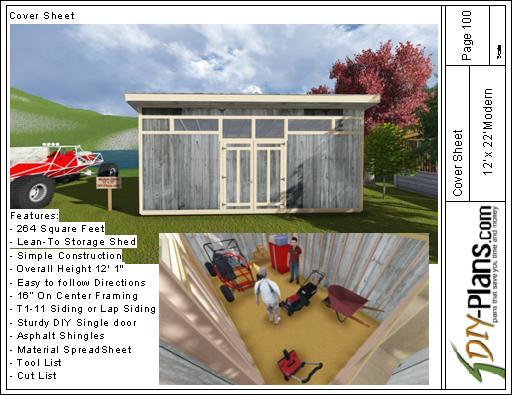 12x22 Modern Shed Plan