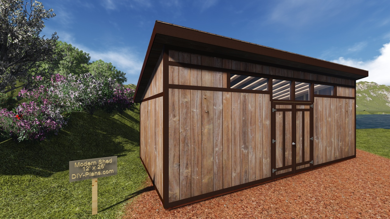 12x28 modern shed plan for Contemporary shed plans