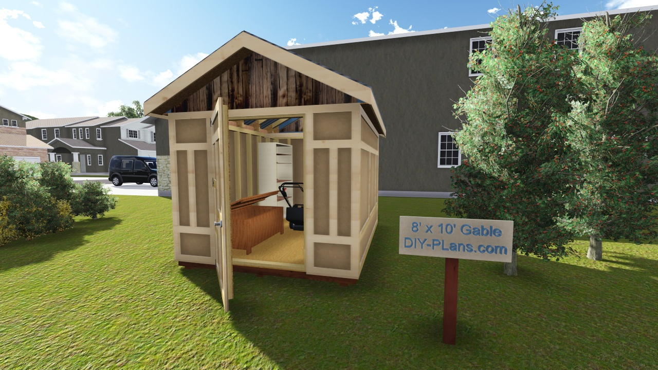8x10 gable utility shed plan for Gable shed
