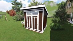 8x10 Modern Shed Plan Front View