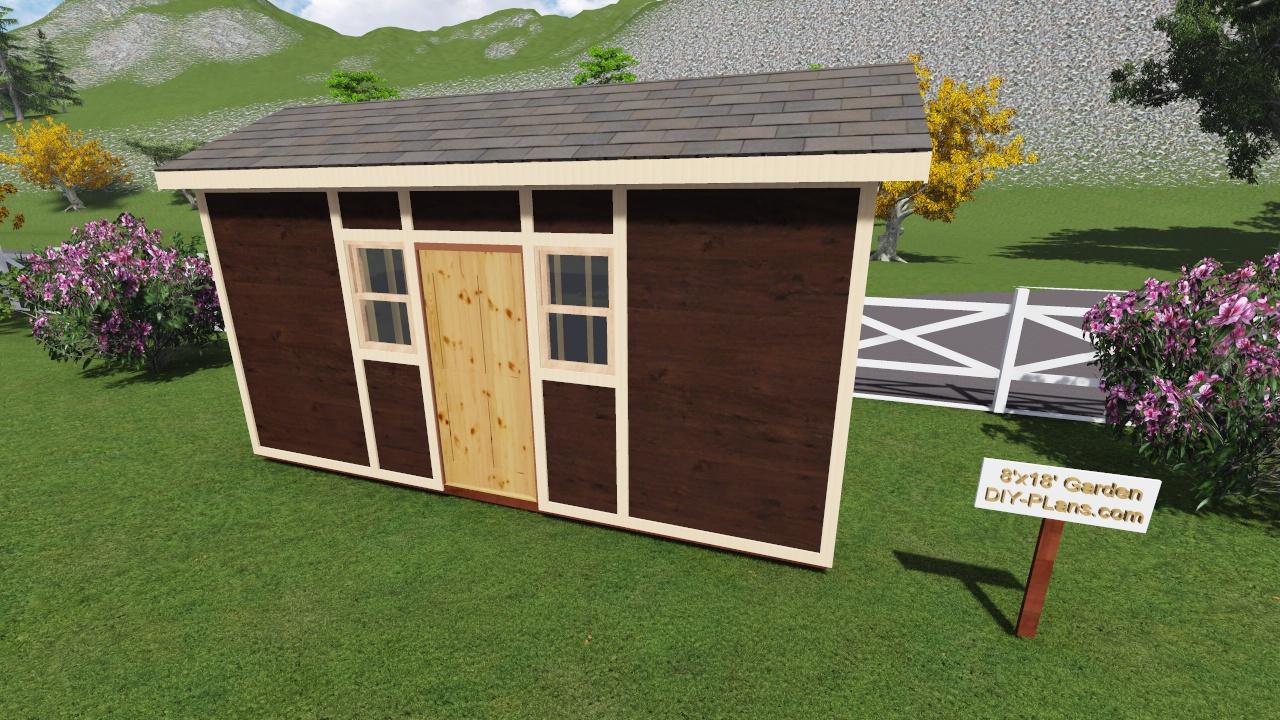 8x18 Tall Garden Shed Plan For A Prehung Door