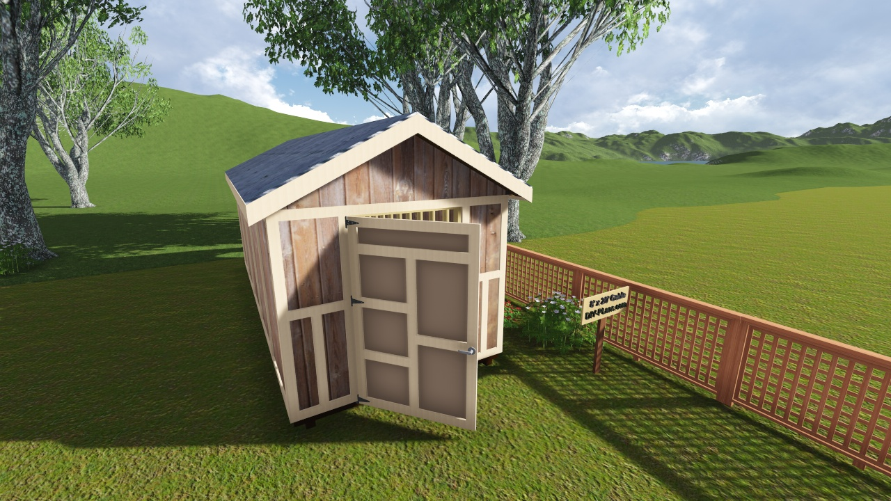 8x20 Gable Storage Shed Plan