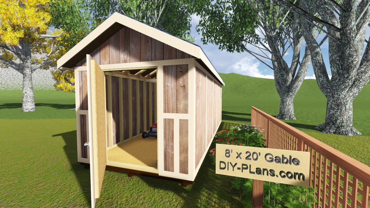 8x20 gable storage shed plan for Gable shed