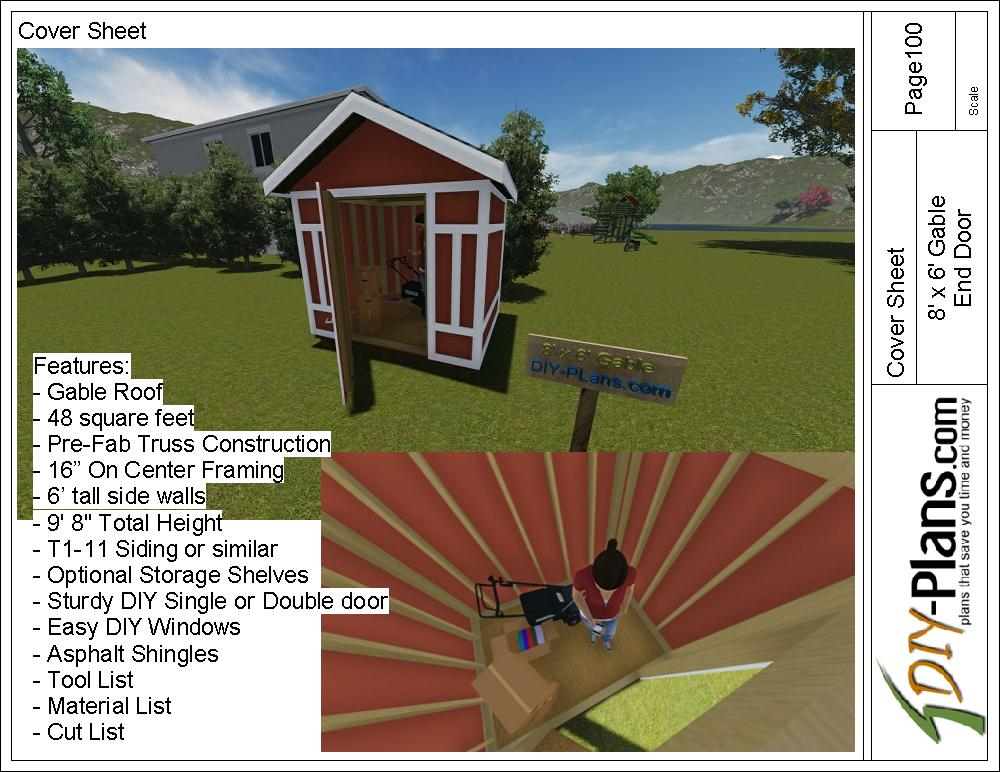 8x6 gable utility shed plan for Gable barn plans