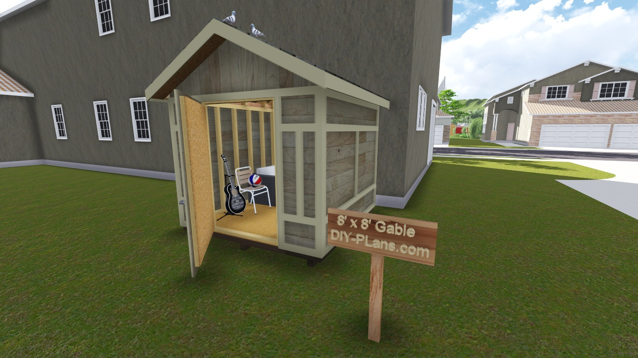 8x8 gable tool shed plan for 8x8 house plans