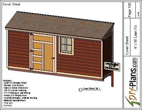 4x16 Lean To Shed Plan