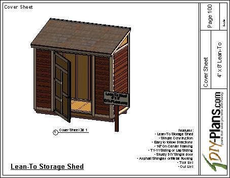 4x8 Lean To Shed Plan Cover Sheet