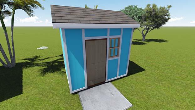 8x10 Tall Garden Shed Plan with Prehung Door