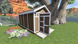 8x16 end door gable shed plan Angled Front