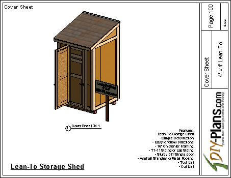 4x4 Lean To Shed Plan