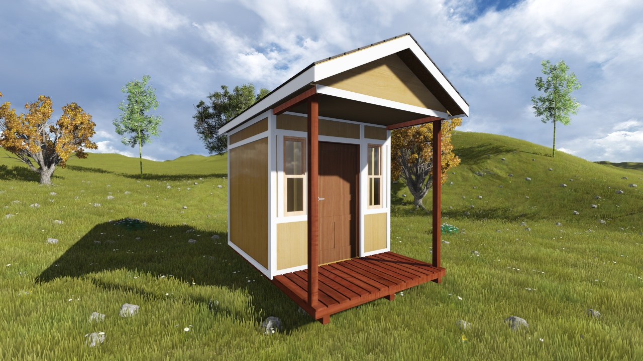 8x12 Tall Gable Shed Plan with A Porch
