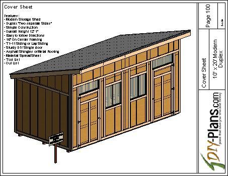 10x20 Modern Duplex Shed Plan